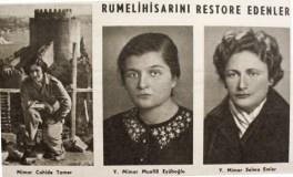 "Cahide Tamer, Mualla Eyüboglu, Selma Emler, ""Quien restaura la Fortaleza Rumeli"", 1959"