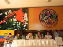 Isabel Donato. Panel con el ministros de Bolivia Ecuador y rectores de Universidades en la Conferencia MundialdelosPueblos Cochabamba 2015