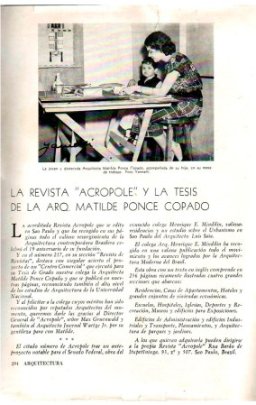 Matilde Ponce Copado, eseña de la revista Arquitectura Cuba, donde aparece la arquitecta con su hija, Cuba, 1957.