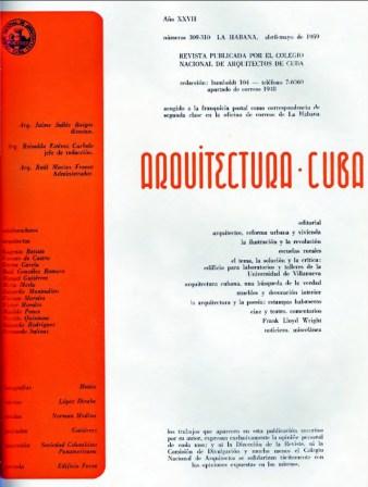 Revista Arquitectura Cuba- Número 309-310, 1959.