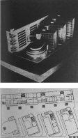 Zalesskaya con El Lissitzky, Korzhev, y Prokhorova. Proyecto para el concurso del edificio para la Comisaría Popular de la Industria Pesada, 1929-30. Modelo y Planta.