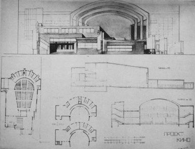 Zalesskaya. Proyecto para un cine en una zona consolidada de alta densidad. Vkhutemas, Estudio de Ladovsky, 1926. Elevación, planos, sección.