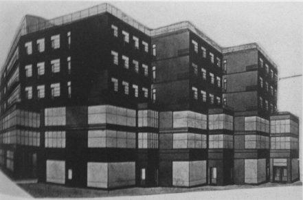 Zalesskaya. Diseño para un bloque de viviendas y oficinas. Estudio de Ladovsky, 1926. Perspectiva.