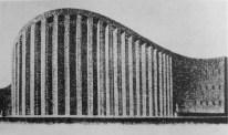 """Attilia Vaglieri_Proyecto para un auditórium en el ámbito del Plan monumental para la """"zona de la música"""" en el Aventino, detalle de la fachada_Roma, Italia."""