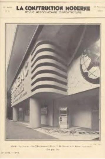 Adrienne Górska y Montaut. Cinéac, Montparnasse, París - Portada La Constrution Moderne, 1933.