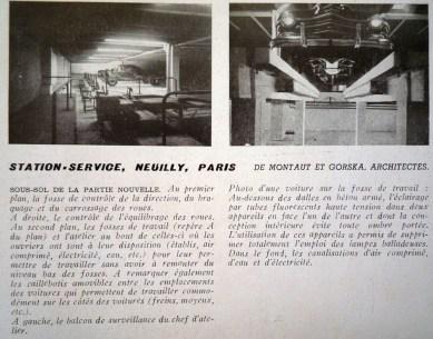 Adrienne Górska. Estación de servicio Neuilly. París en la revista L'Architecture d'Aujourd'hui. 1952. Fotografías y descripción del proyecto.