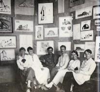 NINA VOROTYNTSEVA Estudiantes de Migi exposición de trabajos. Lyubov slavina, E Chbotareva, A Mukhin, G. Vegman, N. Vorotyntseva y V.-Vladimirov_1923