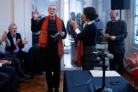 Ana Sugranyes y Pilar Urrejola. Entrega del premio Joaquín Toesca. Colegio de Arquitectos Chile, 2015.