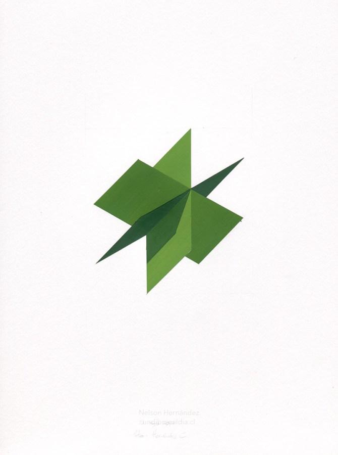 tres cuadrados verdes