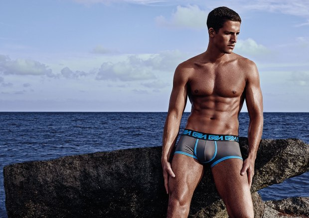 Garcon Model Grey Blue Trunks Haulover Rocks Tyler Kenyon
