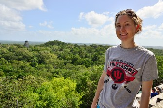 Jess got a lot of cool traveling in but this is her favorite picture. It's the view from Temple IV in Tikal National Park, Guatemala, where you can see the tops of temples poking through the trees. This same view is in a small scene on the rebel base on the jungle moon of Yavin 4 in Star Wars: A New Hope.