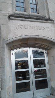 Ernie Pyle Hall entrance proudly proclaiming it as the home of Journalism.