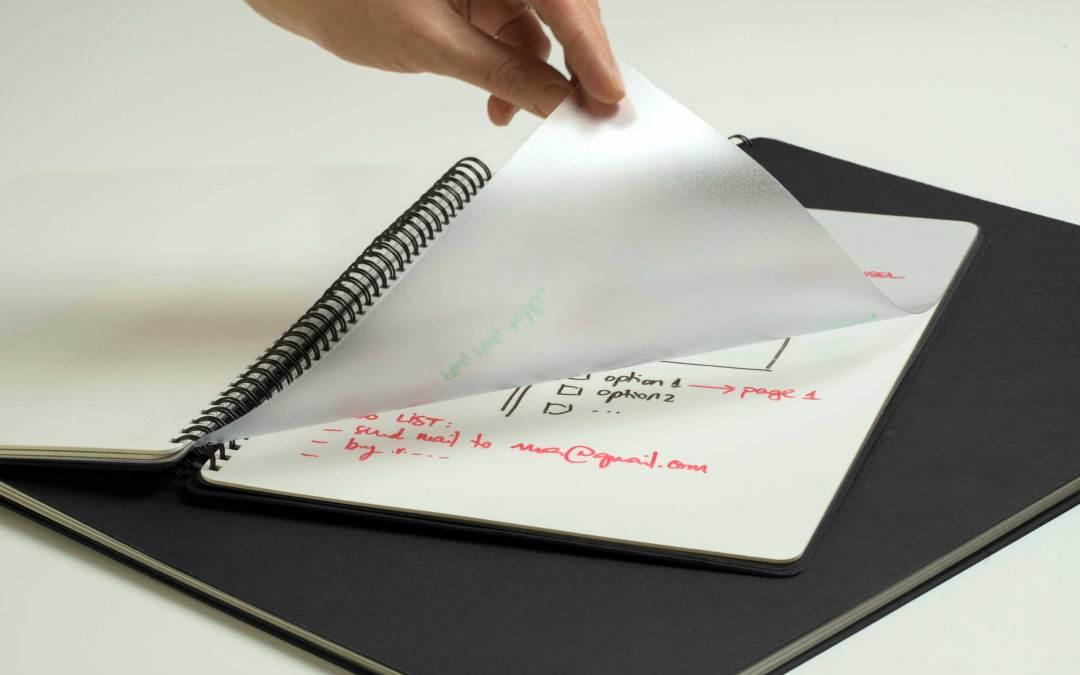 La pizarra blanca en formato libreta