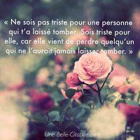 « Ne sois pas triste pour une personne qui t'a laissé tomber. Sois triste pour elle, car elle vient de perdre quelqu'un qui ne l'aurait jamais laisser tomber. »