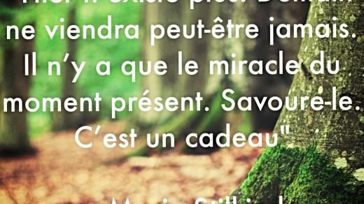 « Hier n'existe plus. Demain n'arrivera peut être jamais. Il n'y a que le miracle de l'instant du moment présent. Savoure-le. C'est un cadeau. »