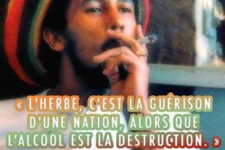 « L'herbe, c'est la guérison d'une nation, alors que l'alcool est la destruction. » – Bob Marley