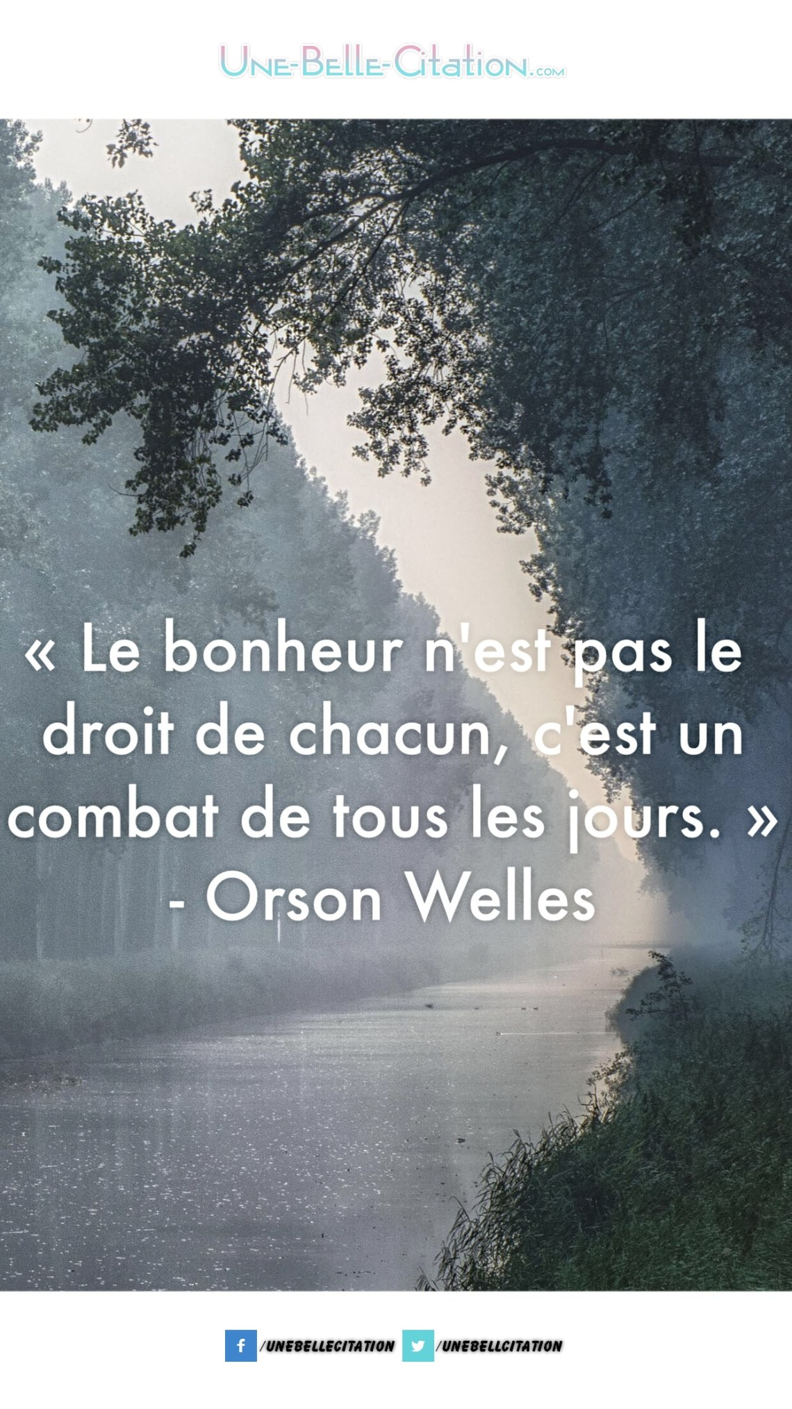 « Le bonheur n'est pas le droit de chacun, c'est le combat de tous les jours. » – Orson Welles