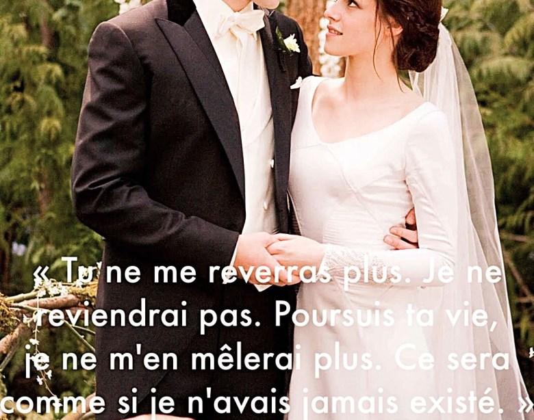 """""""Tu ne me reverras plus. Je ne reviendrai pas. Poursuis ta vie, je ne m'en mêlerai plus. Ce sera comme si je n'avais jamais existé."""" - Twilight"""