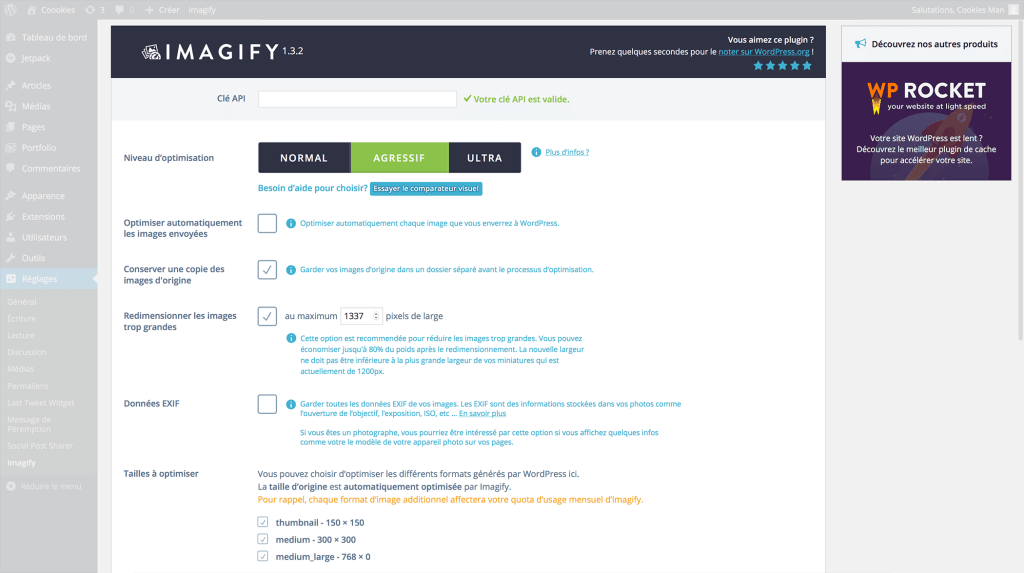 Réglages du plugin WordPress Imagify