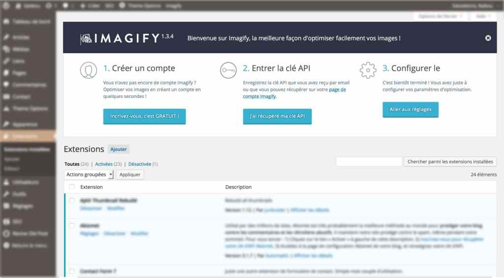 étapes du plugin wordpress imagify