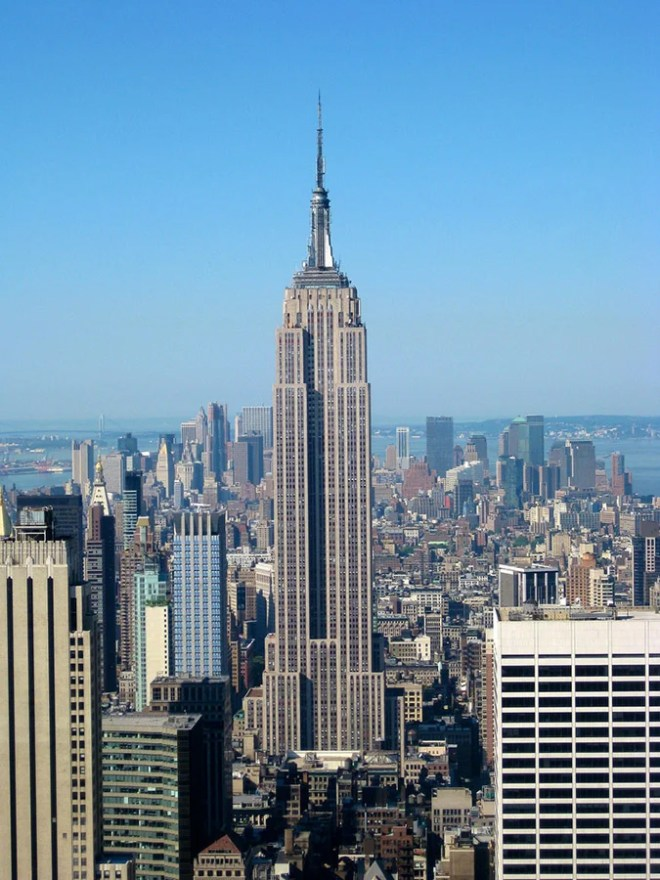 The Empire State Building is a 102-story landmark Art Deco skyscraper in New York City at the intersection of Fifth Avenue and West 34th Street. Its name is derived from the nickname for the state of New York, The Empire State. It stood as the world's tallest building for more than forty years, from its completion in 1931 until construction of the World Trade Center's North Tower was completed in 1972. Following the destruction of the World Trade Center in 2001, the Empire State Building once again became the tallest building in New York City and New York State.