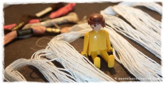 Activité couture - poupée de chiffon - cheveux