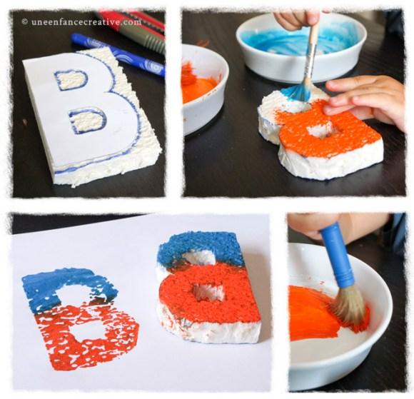 Découpe et peinture tampon lettre B