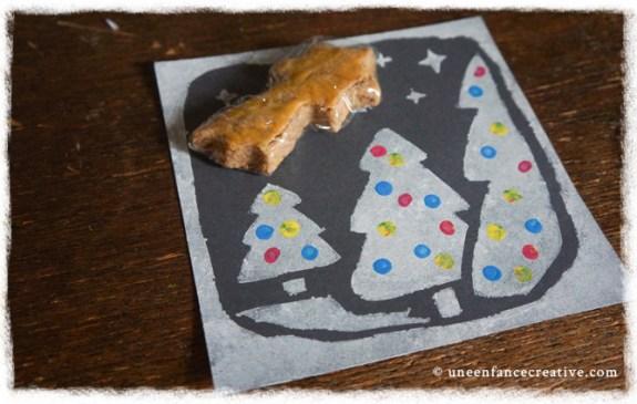 Création carte de vœux Noël à l'aide d'un pochoir