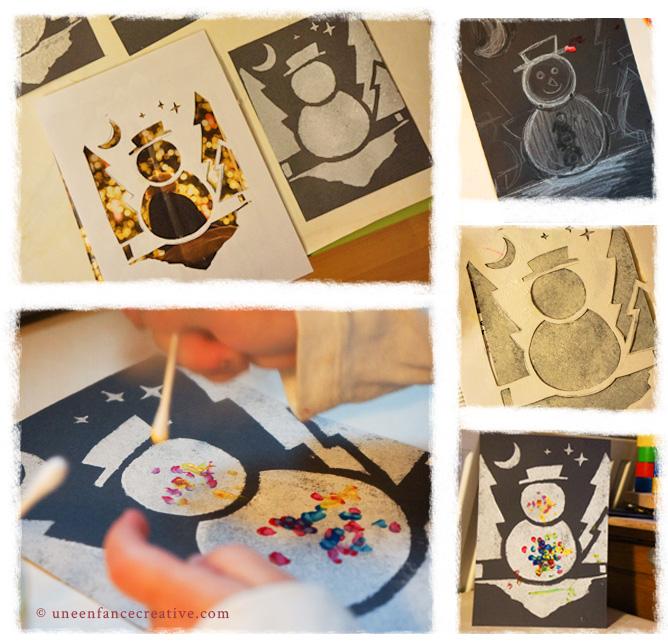 Carte vœux peinture pochoir bonhomme de neige