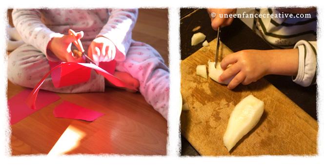 Ateliers découpages papier et fruits