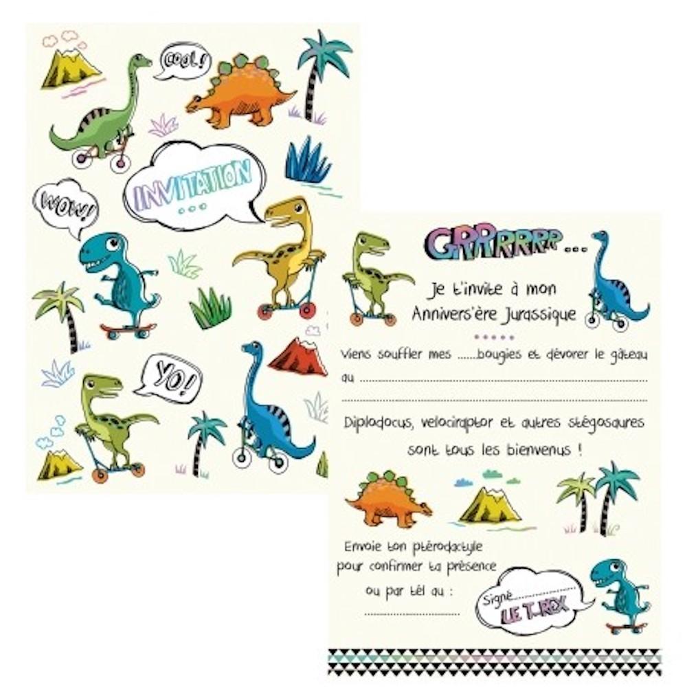 cartes invitations dinosaure