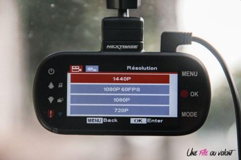 NEXTBASE DASH CAM 412 GW test menu résolution