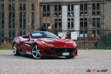 Road-Trip Ferrari Paris-Mulhouse portofino statique V8 sportive rouge face avant
