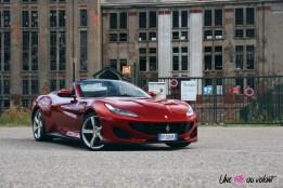 Road-Trip Ferrari Paris-Mulhouse portofino statique V8 sportive rouge face avant