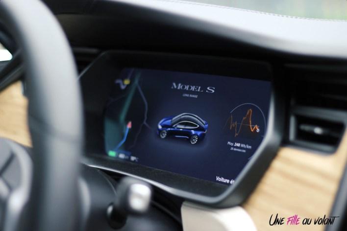 Photos essai Tesla Model S Grande Autonomie 2020 instrumentation numŽrique