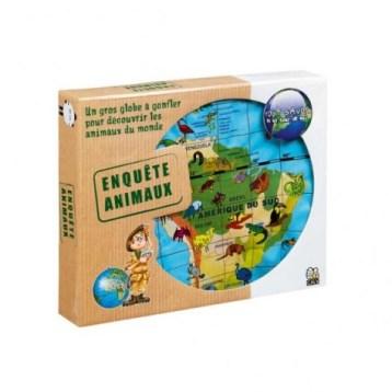 Un jeu original pour apprendre tous les animaux du monde avec un énorme globe gonflable de 50cm!