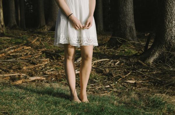woman white dress breakup