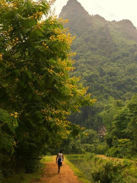 Way to the cave off the beaten track - near Vang Vieng