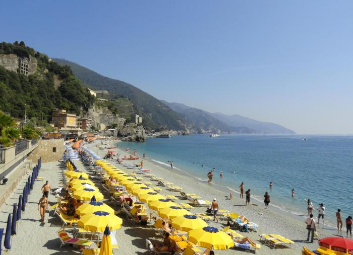 Uitzicht over het strand van Monterosso al Mare in Cinque Terre