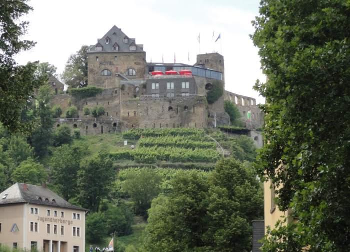 Burg Rheinfels op een heuvel met wijnranken in het het gebied van de Duitse Midden-Rijn