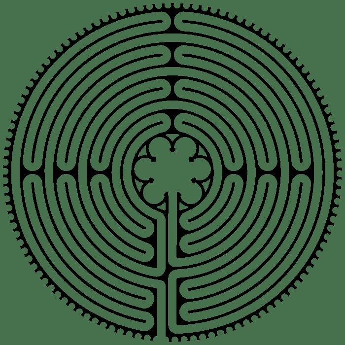 Tekening van labyrint in de kathedraal van Chartres