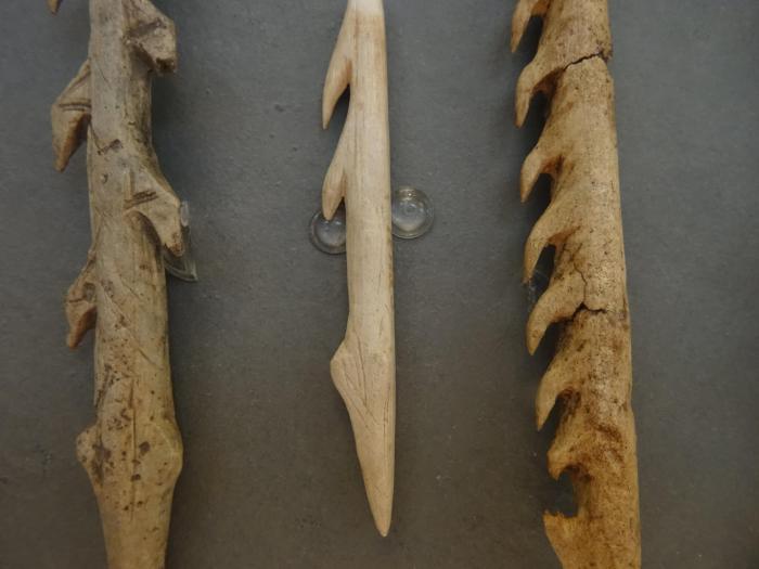 Prehistorische werktuigen in het museum van Altamira