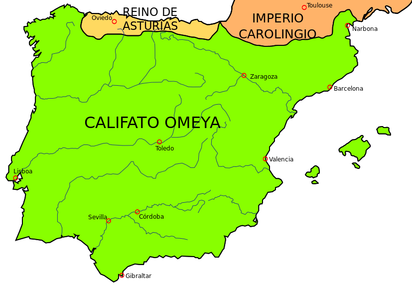 Asturische Rijk weergegeven op de kaart samen met Kalifaat van Cordoba