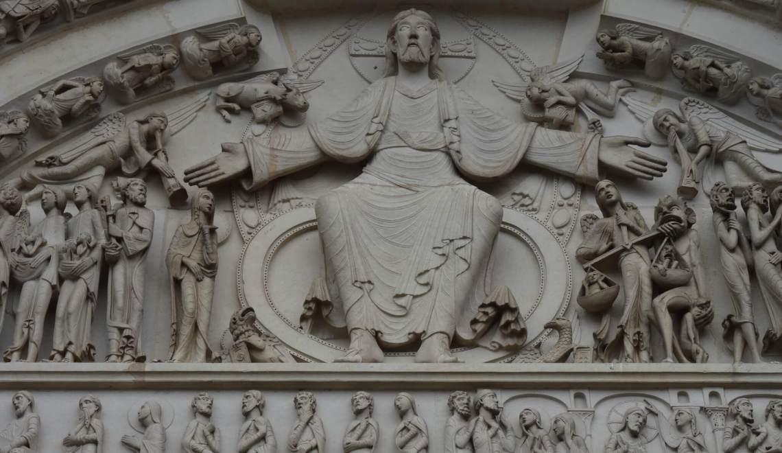 Het laatste oordeel met de zaligen en verdoemden en Jezus in het middenld