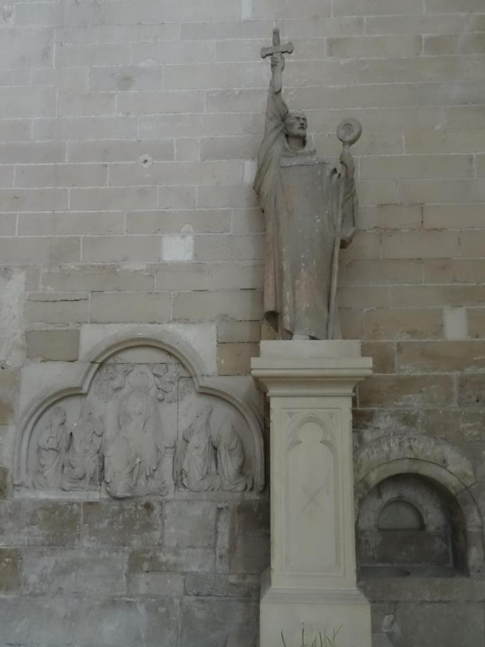 Beeld van Bernard van Clairveaux die een nieuwe kruistocht predikt