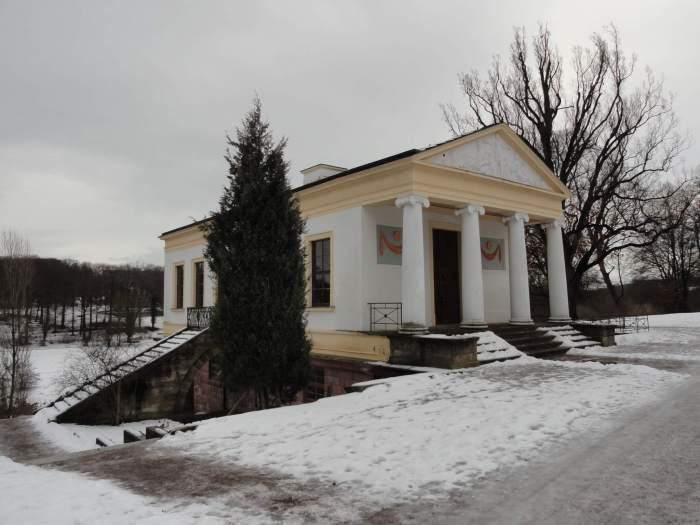 Romeinse huis in Weimar in de sneeuw