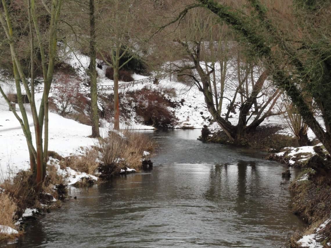 Zacht kabbelend beekje in winters landschap