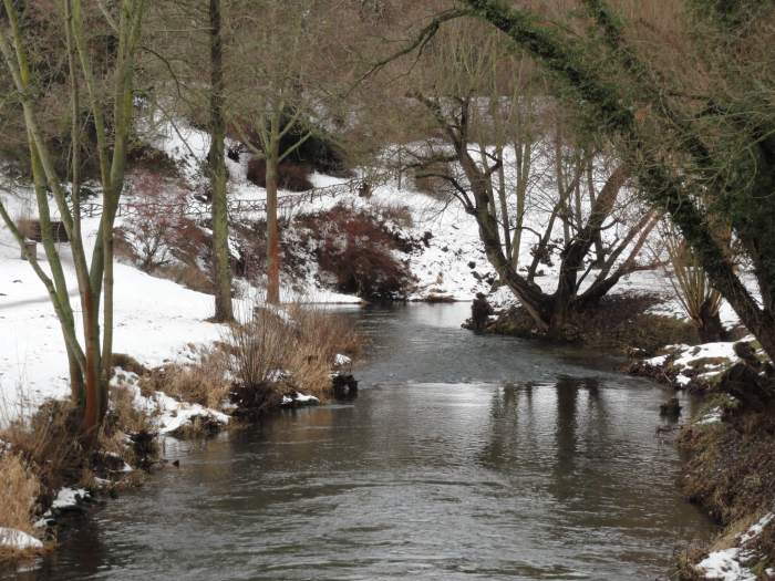 Romantisch doorkijkje op zacht kabbelend beekje in winters landschap