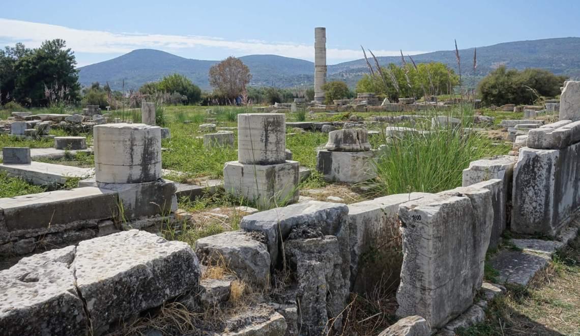Marmeren ruïnes van het Hraion op Samos