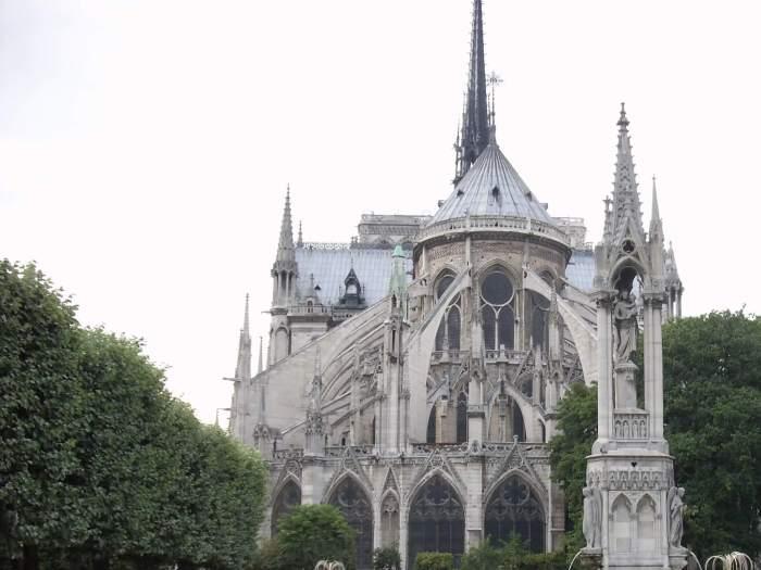 Zicht opm de achterzijden van de Notre Dame van Parijs
